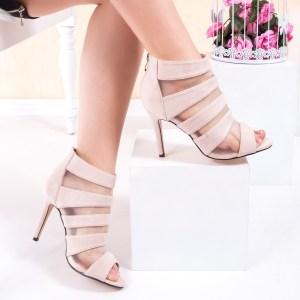 Sandale cu toc dama bej