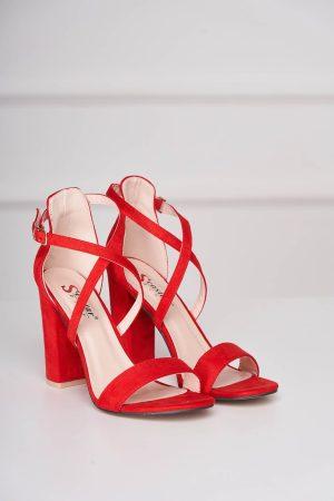 Sandale rosii din piele ecologica cu aspect de piele intoarsa cu barete subtiri