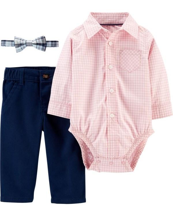 Set 3 piese pantaloni body tip cămașă in carouri si papion