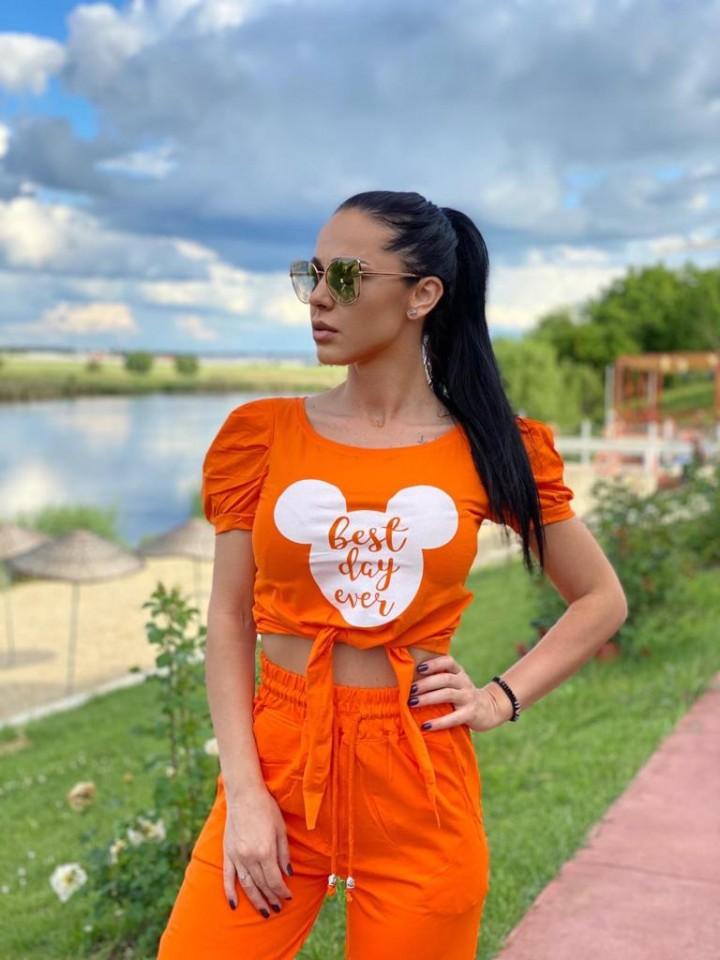 Tricou dama scurt din bumbac orange