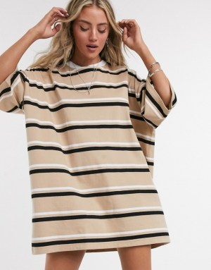 ASOS DESIGN oversized t-shirt dress in camel stripe