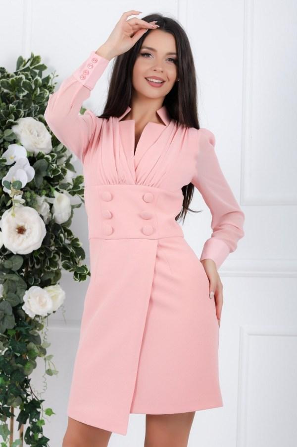 Rochie Sandra roz cu fusta scurta cu aspect petrecut