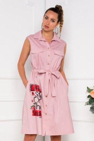 Rochie roz prafuit tip camasa cu imagine imprimata si cordon in talie Dyfashion