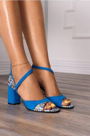 Sandale albastre cu imprimeu stone Dyfashion