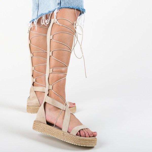 Sandale bej tip gladiator Depurtat