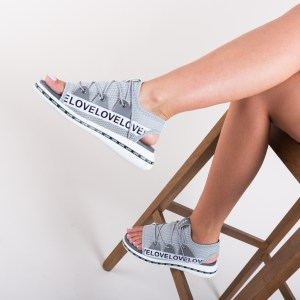 Sandale gri sport din material textil