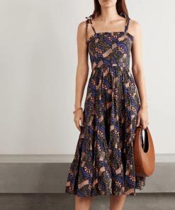 ULLA JOHNSON Ellyn ruffled printed cotton-poplin midi dress