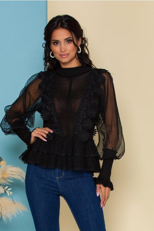 Bluza Mira neagra cu maneci bufante din tull
