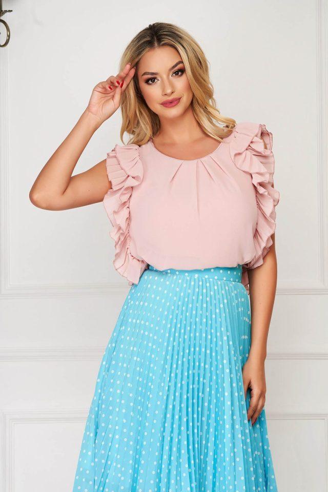 Bluza dama StarShinerS roz prafuit eleganta cu croi larg din voal cu volanase la maneca