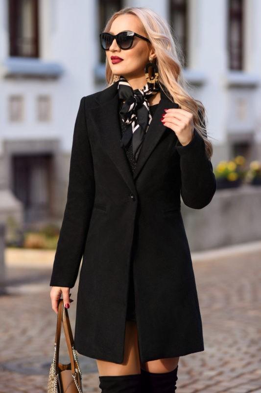 Palton dama negru scurt drept cu un singur nasture din stofa Akira