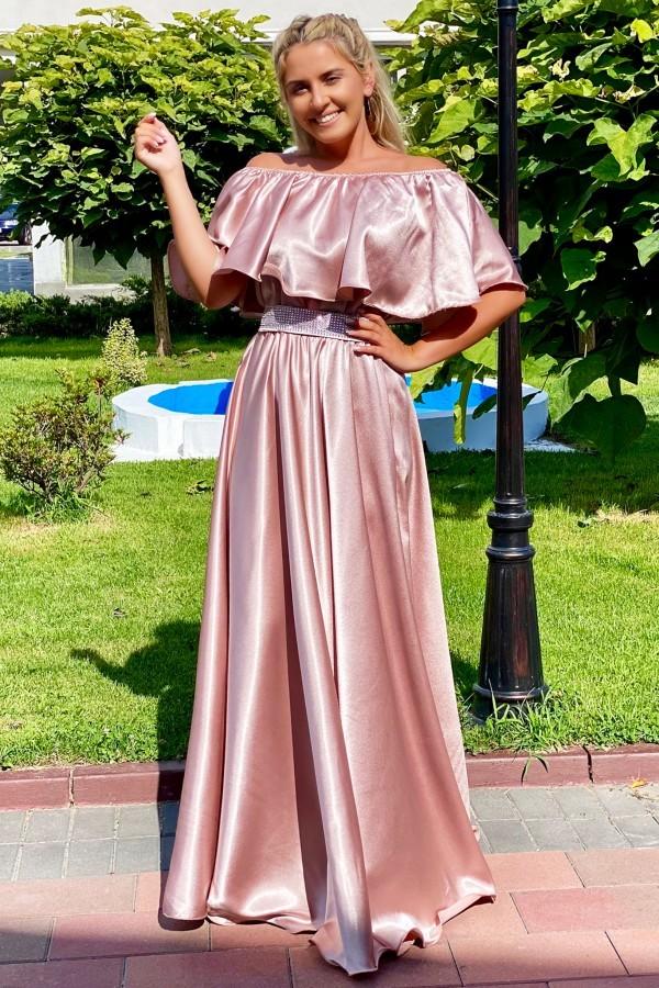 Rochie Andreea lunga in nuante de rose