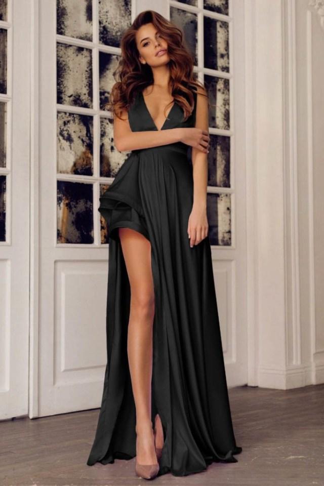 Rochie de seara eleganta si rochie de ocazie lunga, neagra cu decolteu in V, din satin, Tammy