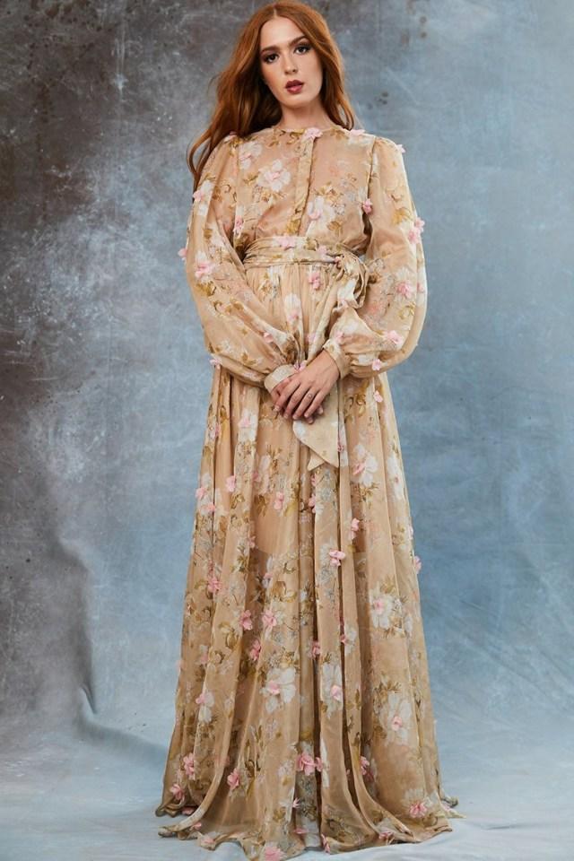 Rochie din amestec de matase cu model floral Ithaca