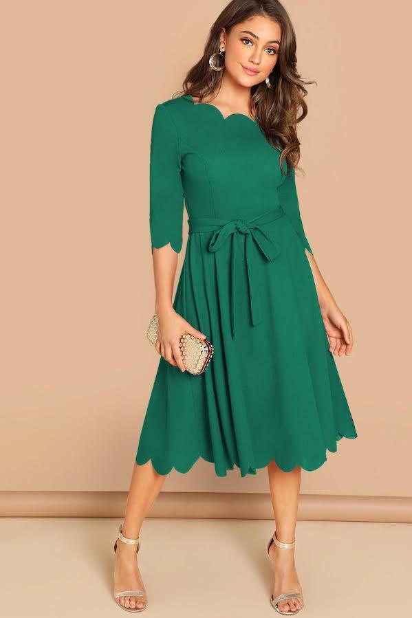 Rochie eleganta si rochie midi de zi verde cu cordon in talie din crep Aniela