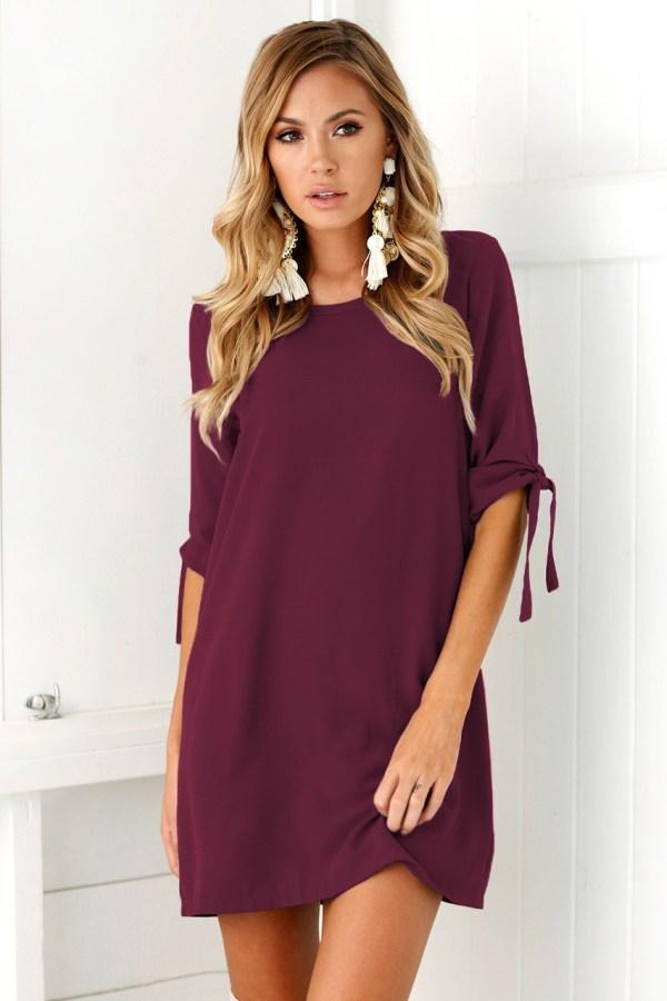 Rochie eleganta si rochie scurta de zi bordo