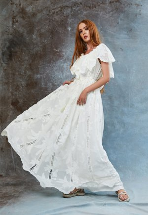 Rochie evazata cu model floral Miriam