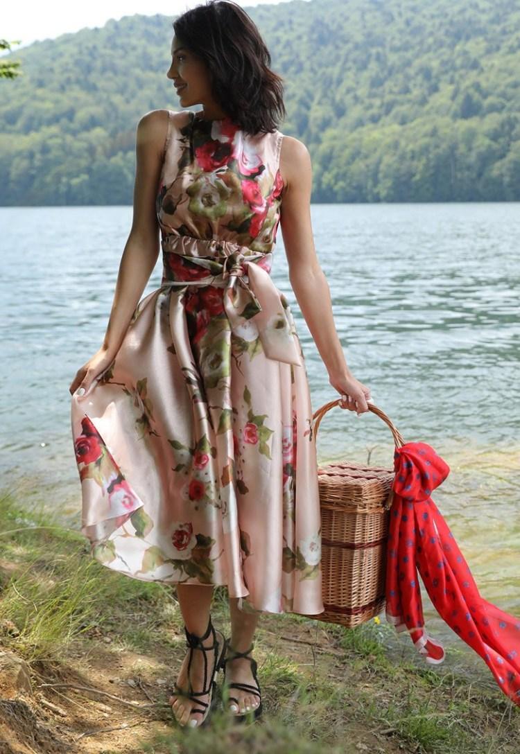 Rochie midi cu imprimeu floral Summer