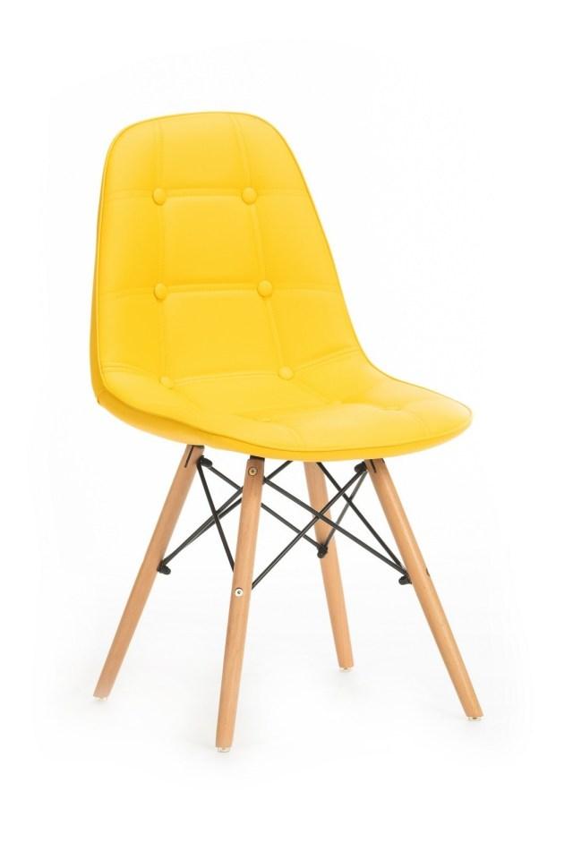 Scaun tapitat cu piele ecologica cu picioare de lemn Stag Yellow