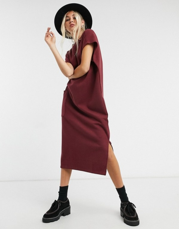 ASOS DESIGN super soft midi dress with pocket detail in port