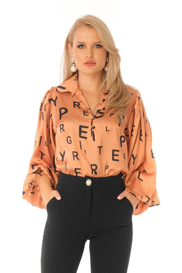 Bluza dama PrettyGirl portocalie eleganta cu croi larg