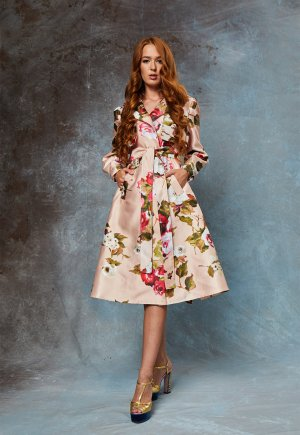 Palton dama lung cu model floral May