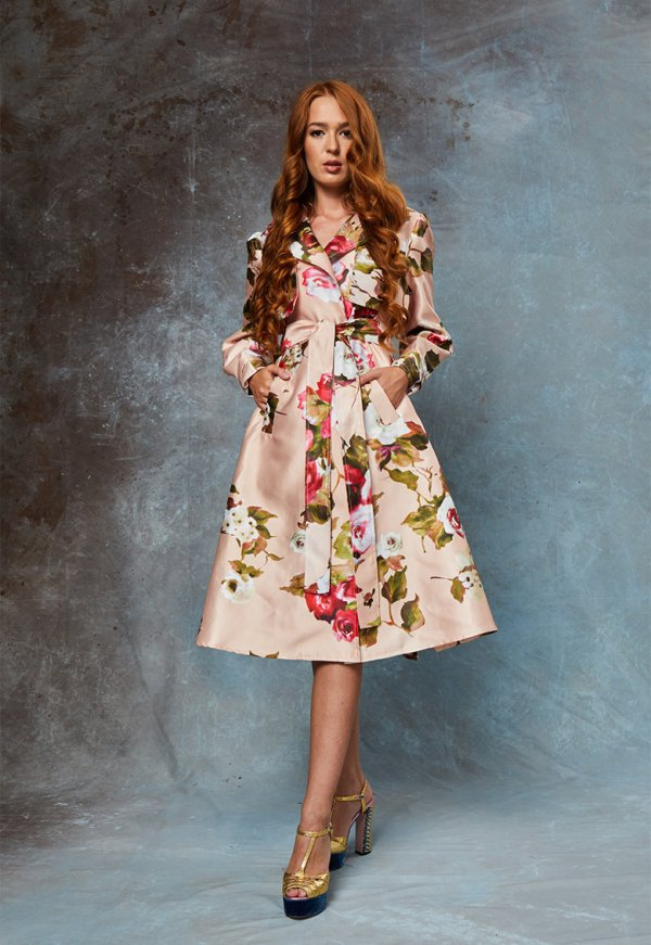 Palton dama lung cu model floral May