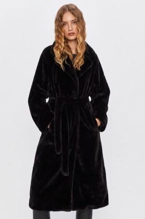 Palton dama negru din imitatie blana cu cordon la talie