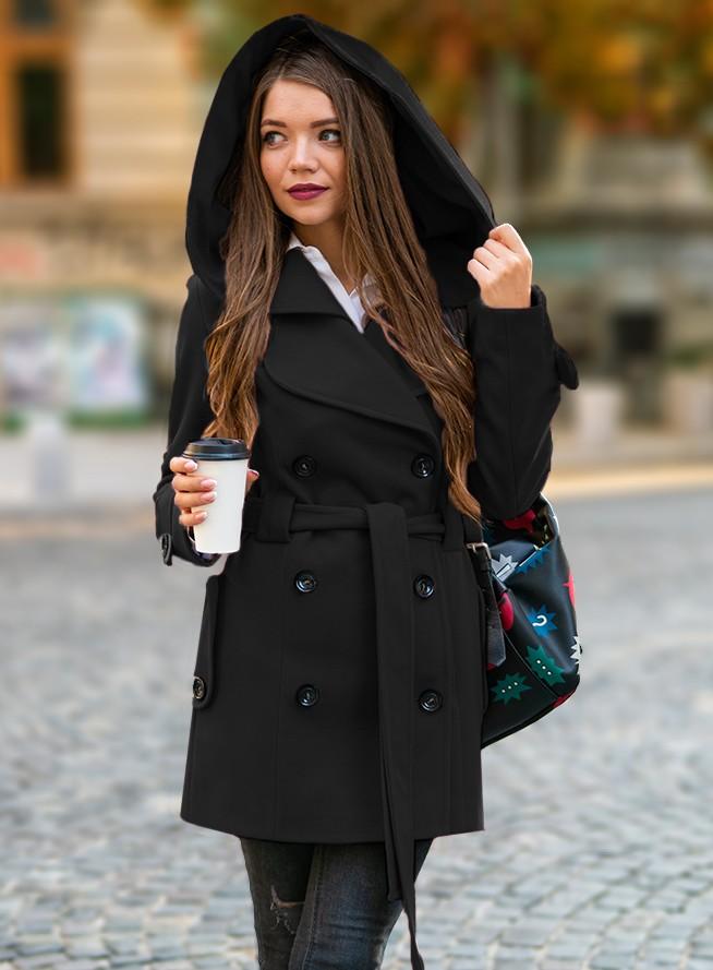 Palton dama negru scurt cambrat cu gluga din stofa