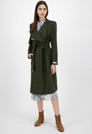 Palton din amestec de lana italiana cu cordon
