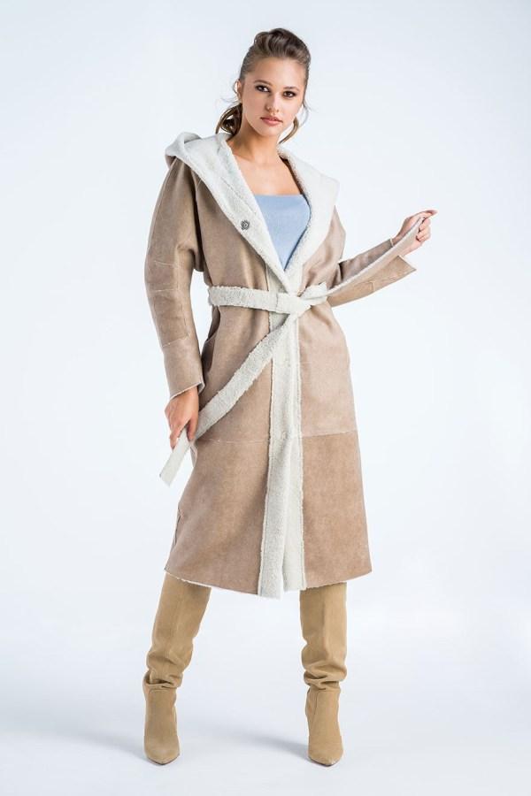 Palton reversibil din blană de miel