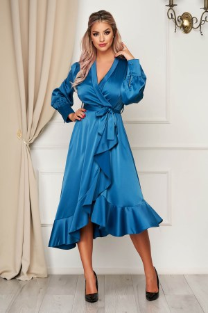 Rochie SunShine turcoaz eleganta in clos decolteu petrecut din material satinat