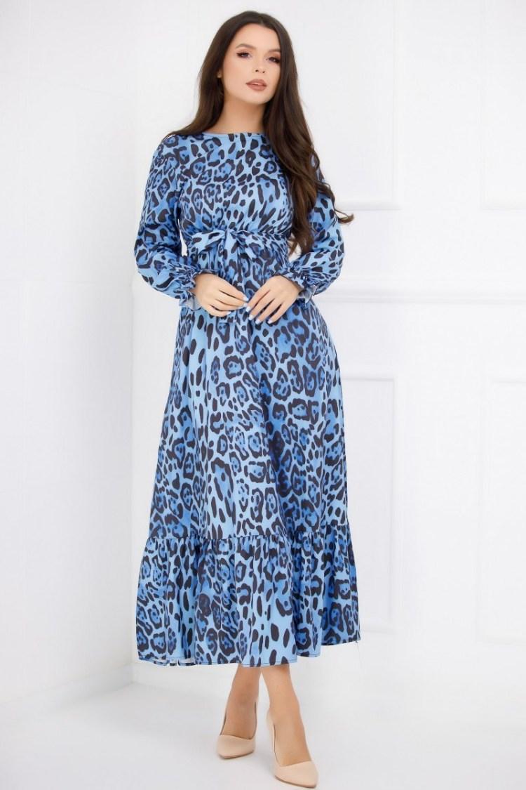 Rochie albastra cu imprimeu negru