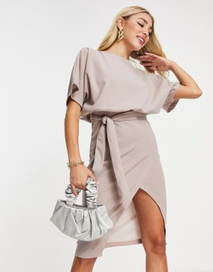 AX Paris kimono sleeve midi dress in pink