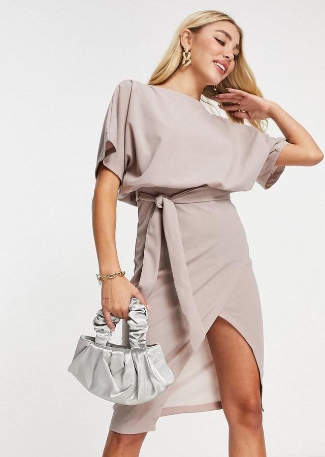 AX Paris kimono sleeve midi dress in pink