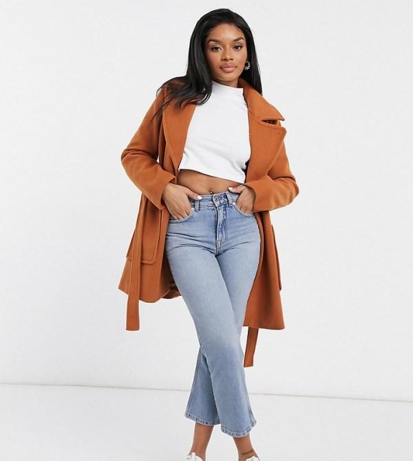 Fashion Union Petite wrap coat with belt