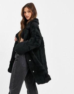 Jayley reversible faux shearling coat in black