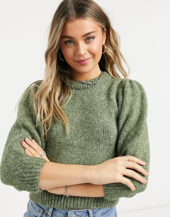 Only chunky knit sweater with balloon sleeves in brushed green knit