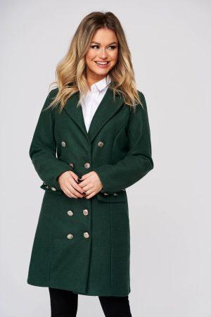 Palton SunShine verde petrol casual scurt din stofa cu un croi cambrat