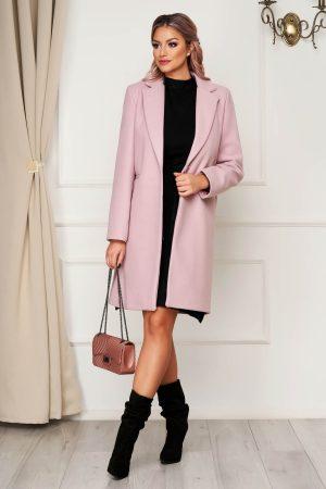 Palton elegant roz prafuit SunShine din stofa cu un croi drept si buzunare