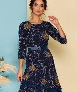 Rochie eleganta bleumarin cu imprimeu floral si curea in talie