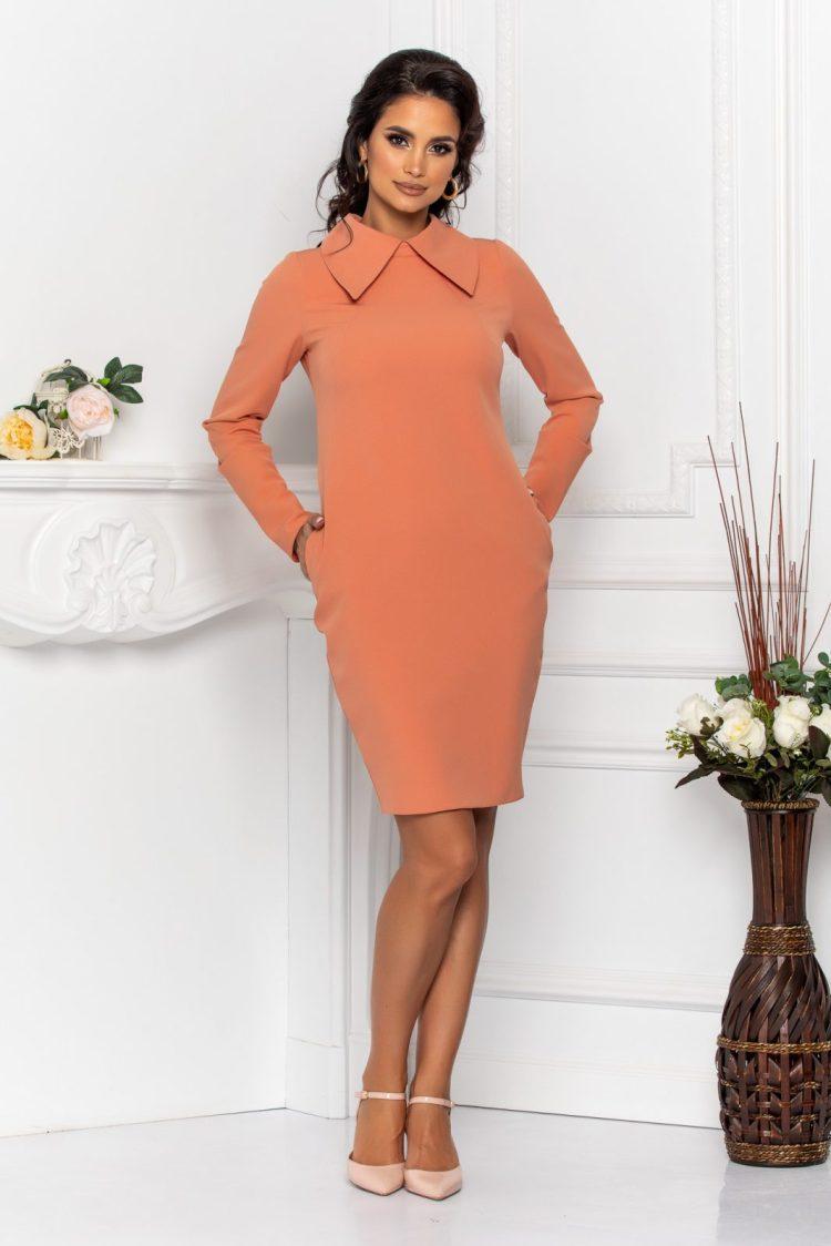 Rochie eleganta cu maneci lungi usor incretite