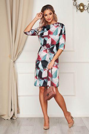 Rochie eleganta gri scurta tricotata de zi cu un croi drept