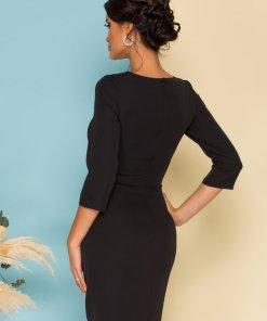 Rochie eleganta midi neagra cambrata cu decolteu rotund