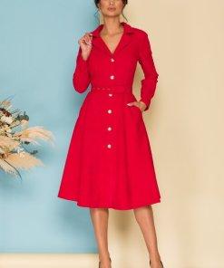 Rochie eleganta midi rosie in clos din velur cu revere