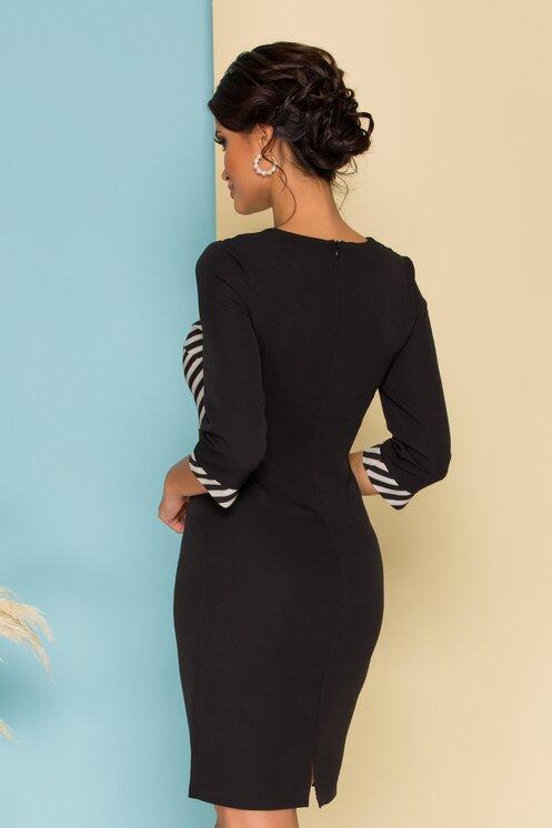 Rochie eleganta neagra cambrata cu dungi la bust