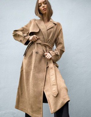 Stradivarius long double breasted belted coat in camel