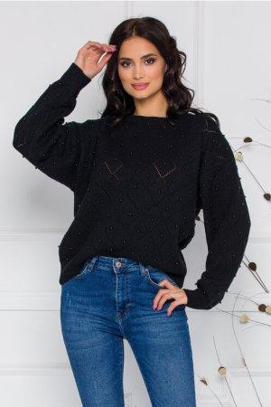 Bluza Alice neagra cu perforatii si margele