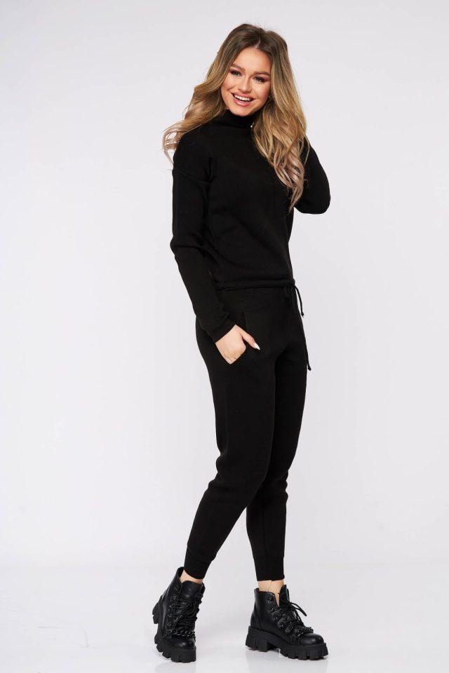 Compleu SunShine negru casual tricotat din 2 piese cu pantalon cu croi larg pe gat