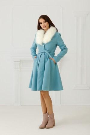 Palton stofa bleo cu blana alba la guler