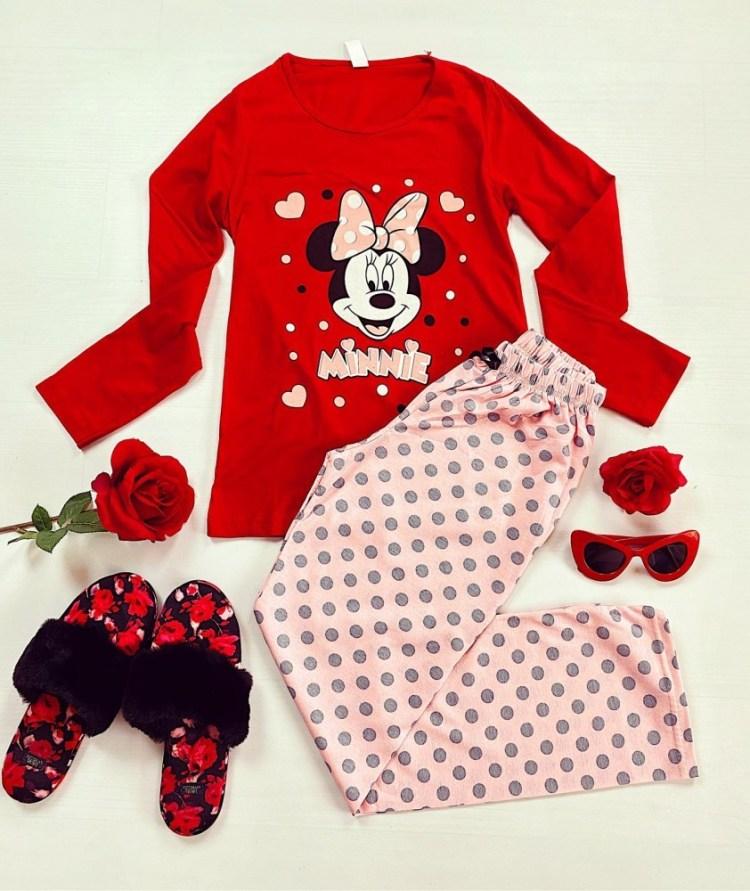 Pijama dama lunga din bumbac rosie cu imprimeu Minnie